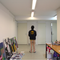 Misheck Masamvu at the studio  © André Smits part of Artist in the World. The Never Ending Art Trip