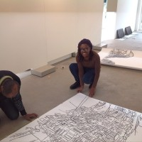 Sheena Rose and Philips Hernandez installing work at Centre for Visual Arts Zuidoost (CBK Zuidoost) © Sheena Rose